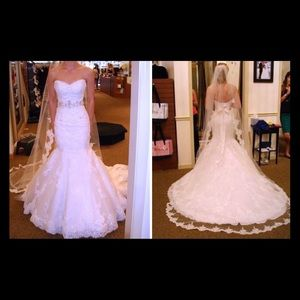 White wedding dress mermaid/trumpet silhouette